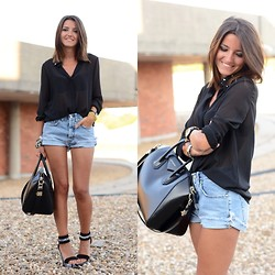 Alexandra Per - Storets Shirt, Mih Jeans Shorts, Lovely Pepa X Krack Wedges, Givenchy Bag - Black snake print