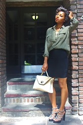 Monroe Steele - Topshop Top, Le Cile Skirt, L.A.M.B. Shoes, Light Years Nc Bag, Vintage Necklace - Date Night