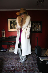 Kristina Janelle - Gift From Grandma White Overcoat, Free People Chiffon Dress, Sam Edelman Serephina Boot - Get Off of My Cloud