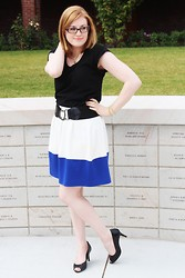 Chelsea P - Old Navy Rayon Blouse, Forever 21 Colorblock Skirt, Payless Peep Toe Pumps - Lupine Lady