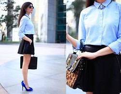 Layla Asgari - Free People Leather Skirt, Boutique 9 Cobalt Heels, Cameo The Label Necklace, Asos Leopard Satchel - Black and Blue