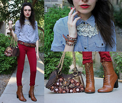 Allie Finch - Striped Blue/White Blouse, Pacsun Maroon Stretch Jeans, Forever 21 Lace And Jeweled Collar Necklace, China Studded Belt Bracelet, Forever 21 Brown Victorian Style Boots, Las Vegas Hand Made Purse - Victory!!