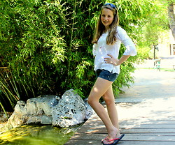 Sabrina In Monaco - Abercrombie & Fitch Denim Shorts, St Tropez White Blouse, Chanel Sunglasses - Denim Shorts in the Jungle!