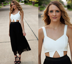 Madeline Becker - Love Cream Scuba Cut Out Bodice Dress, Market Black Heels - When we're apart whatever are you thinking of?