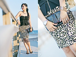 Melanie Y - Botkier Burgundy Patent Clutch, Forever 21 Peplum Tube Top, Forever 21 Leopard Skirt, Guess? Black Pumps, Forever 21 Collar Necklace, Jewelmint Chain Bracelet, Michele Watch - Date Night: Peplum & Leopards