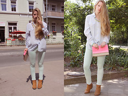 Faustine Lara - H&M Little Glitter Clutch, Vintage Blouse, H&M Necklace, Zara Mint Trousers, Bullboxer Glitter Boots - Neon & Mint