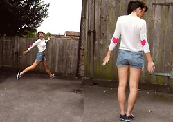 Hannah Victoriaa - Asos Heart Elbow Patch Jumper, Levi's® Denim Cut Offs, Vans Sneakers - Jump For My Love