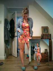 Mary Smith - Pacsun Jean Jacket, Forever 21 Floral Dress, Charlotte Russe Mint Heels - Friday Night Date