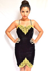Karan R - Vintage Velvet Lace Dress - Masquerade Ball