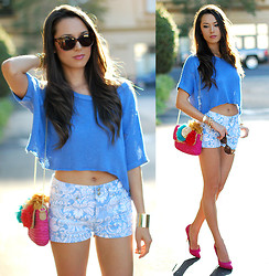 Jessica R. - Vivilli Sunglasses, Popcouture Shorts, Jewelmint Cuff, Forever 21 Sweater, Betsey Johnson Bag - Iconemesis