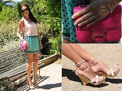 Katia Peneva - Hermës Bag, Emanuel Ungaro Shoes, Zara Skirt, Gene Top, Prada Sunglasses, Nessa Ring - Think Pink
