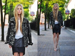Dominica Justyna - Camo Jacket, Sheinside Ombre Blouse, Romwe Leather Skirt - Camo jacket and ombre blouse.