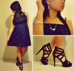 Justhine N - Navy Dress, Lipstik Lulu, Flower Earrings, Bangles, Bird Necklace - I want to do it all over again