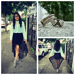 Nayeli J - Gifted Rings, Local Boutique Lace High Low Skirt, Can't Remember Mint Sheer Shirt, Don't Remember Studded Heels - Ten Years Gone...