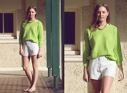 Olivia G - Sugarlips Dainty Stud Shorts, Neon Lime Sweater - Sugar and Lime