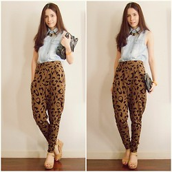 Kapongpeang K. - Denim Shirt, Leopard Pants, Black Clutch, Nude Wedges - Leopard ^^