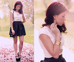Wioletta Mary Kate - Top, Bracelet, Earrings, Romwe Skirt, Papilion.Pl Shoes - White minimalist top