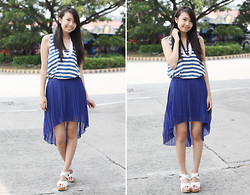Sophie Ramos - The Berries Royal Blue Mullet Skirt, Melty Kiss Striped Top, Things That Matter Pearl Necklace - Feeling Blue