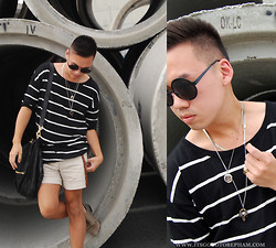 Stephen Pham - Zara Leather Shoes, Oak Rings, H&M Striped Sweater, Zara Cuffed Shorts, H&M Sunglasses, Pyrrah Pendant, Broken English Necklace, Givenchy Leather Bag - Circles & Stripes