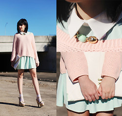 Kaylah Wanny - Diva Skull Necklace, Asos Clutch, Ally Sweater, Romwe Mint Dress, Glassons Shoes - Pink Mint