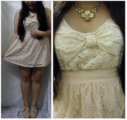 Lee.Sze ♥ - New Look Lace Bow Top, Stradivarius Lace Skirt, Accessorize Necklace, Miss Selfridges Lace Heels - (◠‿◠)♥