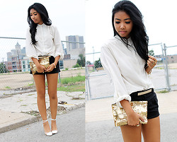 Sharena C. - Thrift Store White Top, Diy Sequined Clutch - Sequined