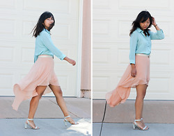 Angie C - Thrifted Mint Button Down Blouse, Forever 21 Peach Hi Lo Fishtail Skirt - She put the drama in her skirt and walked across the sea