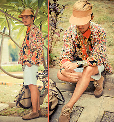 Yves Camingue - Topman Studded Cuff, Thrifted Floral Print Hoodie, Valiant Foulard Shirt, Yves Saint Laurent Smart Shorts, Ren Ben Suede Shoes, Simon Apparel Canvas 2 Way Bag, Anthill Fabric Gallery Coconut Copra Visor - Barriotique