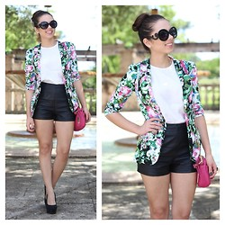 Daniela Ramirez - Visit My Blog, Beginning Boutique Floral Blazer, Romwe Top, Forever 21 High Waisted Leather Shorts, Payless Black Wedges, Remi And Emmy Pink Shoulder Bag, Prada Inspired Sunglasses - The floral blazer...