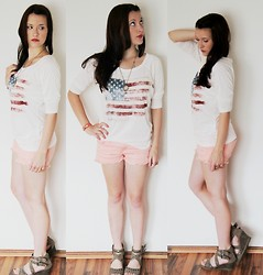 Laura Viktoria - H&M Necklace, H&M Armband, New Yorker Shirt, Primark Shorts, Deichmann Wedges - Little american feeling or something else ..