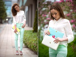 We Inspire Us . - H&M Mint Pants, Only Studded Blouse - Mint Pants with Studded Collar Blouse