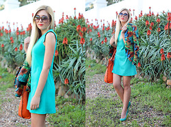Superficialgirl S - Woolworths Teal Shift Dress, Forever New Green Heels - Tropical Jungle Print Fever