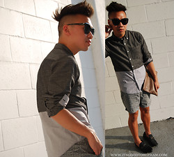 Stephen Pham - Izzue Two Tone Button Up, Club Monaco Printed Shorts, D&G Sunglasses, Prada Leather Clutch, Zara Loafers - Fresh