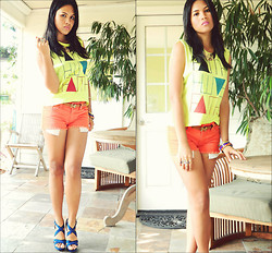 Desiree Atienza - Forever 21 Neon Cut Top, Forever 21 Orange Denim Shorts, Forever 21 Gold Statement Necklace, Zara Blue Heels - In all colors