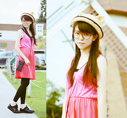 NIKKI Z. - Neko Polar Cap, H&M Shoes, Fluorescent Pinks Dress - End of July.