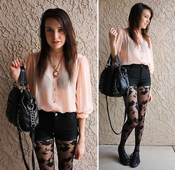 Allie Finch - Forever 21 Pink Blouse, Betsey Johnson Jewel Necklace, H&M Black Shorts, Express Rose Pattern Leggings, Urban Outfitters Black Sequin Shoes - Normal Day