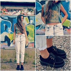 fredrikah ▲ - Sheinside Creepers, Beyond Retro Vintage Jeans, H&M Top -  tiny vessels
