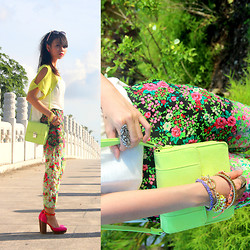 MASTURAH K. - H&M Neon Sling Bag, Topshop Floral Pants, H&M Arm Candy, Cotton On Neon Jersey Slit Top, Forever 21 Floral Sunnies - A Neon kinda Noon.