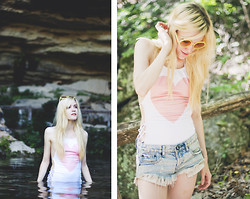 Catherine P - Wildfox Couture Marilyn One Piece, One Teaspoon Bonitas Shorts, Tobi Circle Sunglasses - Hamilton Pool