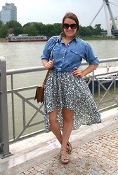 Katherine Pearce - Diyed High Low Skirt, Thrifted Denim Shirt - High-low