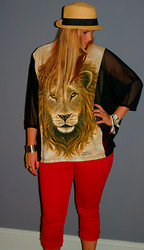 Alice Commando - Forever 21 Hat, Lf Shirt, Lucky Red Jean Capris - Lioness