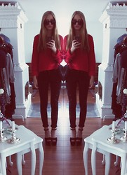 Carolin Larsson - Gina Tricot Red Knitted Sweater, Dr Denim Black Jeans, Tiamo Black Platforms, Jc Round Glasses - Darling you're with me, always around me.