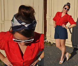 Katherine Pearce - Vintage Shorts, Vintage Blouse, Thrifted Scarf - Retro