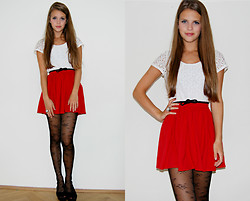 Julia R - American Apparel Red Skirt, Promod Cropped Shirt - Rrrrred part