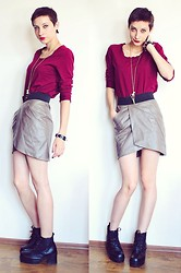 Evilish Queeny - Oliver Burgundy Basic Shirt, New Yorker Leather Skirt, Combat Booties - Компот