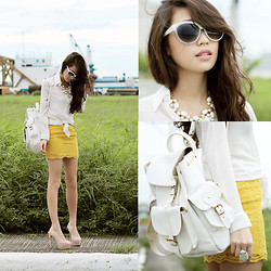 Kryz Uy - House Of Eva Skirt, Sm Acc Necklace, Grafea Bag - Pearl Harbor