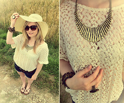 Nathalie G - H&M Crochet Shirt, H&M Brown Sandals - Don´t fly away my lovely hat