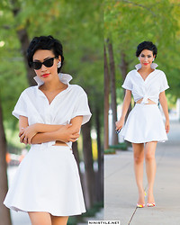 Nini Nguyen - American Apparel Top, American Apparel Skirt, Christian Louboutin Shoes - White on White