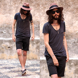 Tony Stone - Sandro Hat, H&M Black Shorts - HOLIDAYS OH HOLIDAYS
