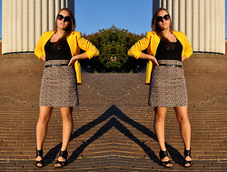 Katherine Pearce - Vintage Yellow Blazer, Vintage Floral Pencil Skirt, Target Black Strappy Wedges, H&M Black Sunglasses - Sunshiny